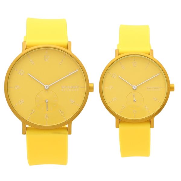 SKAGEN 腕時計 ペアウォッチ レディース メンズ スカーゲン SKW2820 SKW6557 イエロー