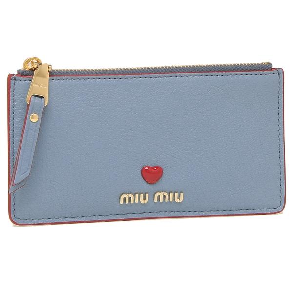 MIU MIU カードケース レディース ミュウミュウ 5MB006 2BC3 F0637 ブルー