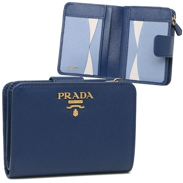 PRADA 折財布 レディース プラダ 1ML018 ZLP F0RAU ブルー