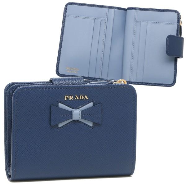 PRADA 折財布 レディース プラダ 1ML018 2B7S F0RAU ネイビー