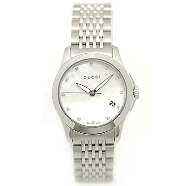GUCCI グッチ YA126504 スモール バージョン Gタイムレス コレクション腕時計 レディースウォッチ シルバー/ホワイトマザーオブパール/ダイヤモンド/シルバー