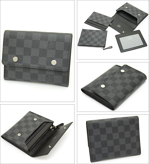 루이비통 지갑 LOUIS VUITTON 비통 N63083 다미에그라핏트포르트포이유콘파크트모듀라불 2때다기능 지갑