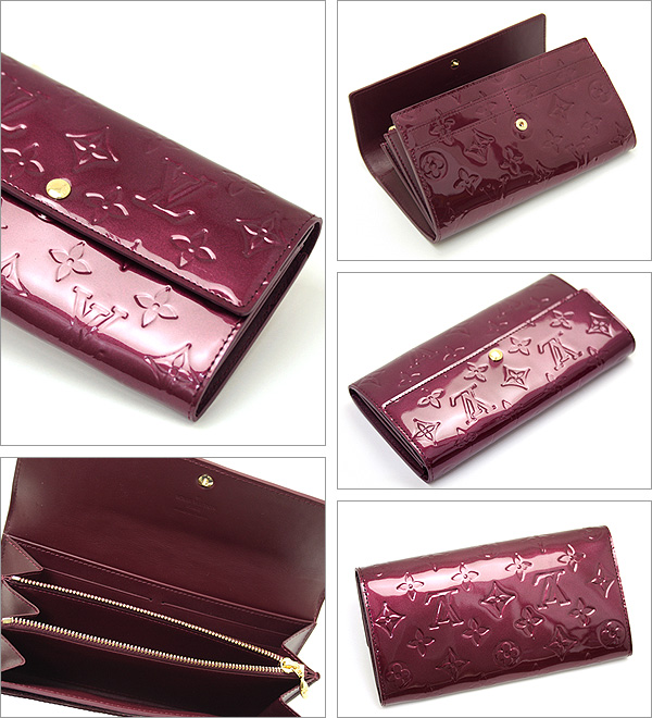 Louis Vuitton wallets LOUIS VUITTON Vuitton wallet M91521 Rouge fauviste Monogram Verni Sarah long wallet