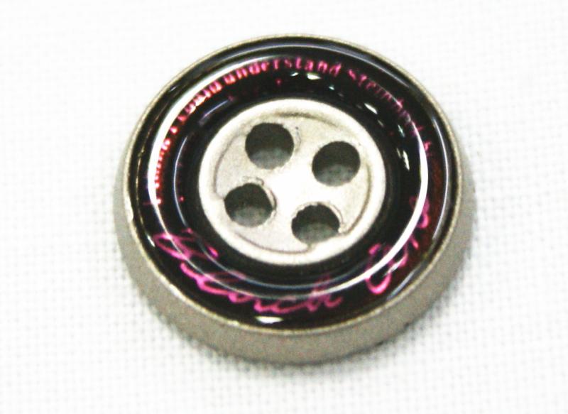 学生ズボンボタン ピスボタン エポキ金属 ロゴ:紫 大人気 ☆メール便対応☆ 卓越 バック:黒