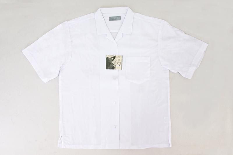 【開襟シャツ】[青白ホワイト]女子オープンブラウス(丈61.5cm(M)/水平カット/半袖)☆メール便対応☆ 女子中学、女子高生の通学シャツに! ★アウトレット価格★