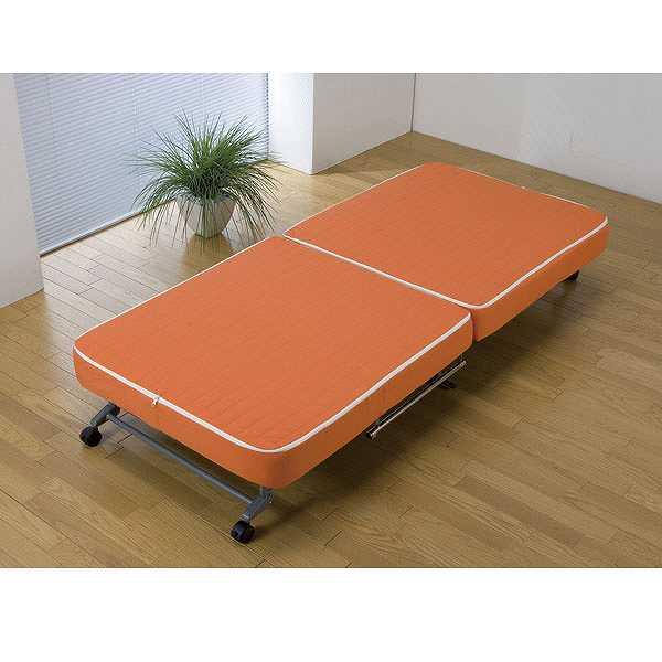 すぐ使えるカバー式折りたたみベッド★オレンジ