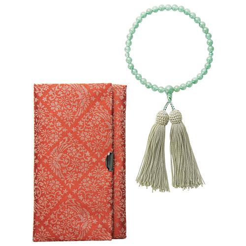 【スーパーセールでポイント最大44倍】女性用念珠セット 印度翡翠 K10706620:インテリアの壱番館