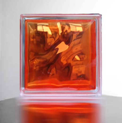 【スーパーセールでポイント最大44倍】【送料無料】ガラスブロックガラス(6個セット)190x190x95日本基準サイズ オレンジ