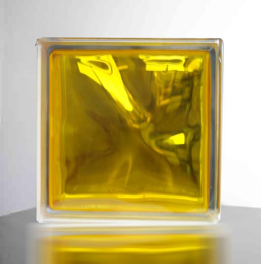 【スーパーセールでポイント最大44倍】【送料無料】ガラスブロックガラス(6個セット)190x190x95日本基準サイズ イエロー/黄色