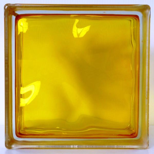【送料無料】6個セット ガラスブロックガラス 厚み80mmイエロークラウディ 屋内専用