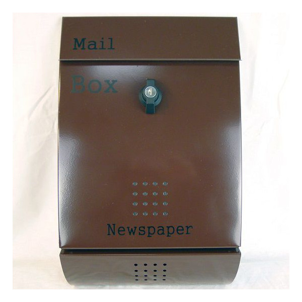 【送料無料】郵便ポスト 郵便受け 錆びにくい メールボックス壁掛けブラウン色 ステンレスポスト(brown)