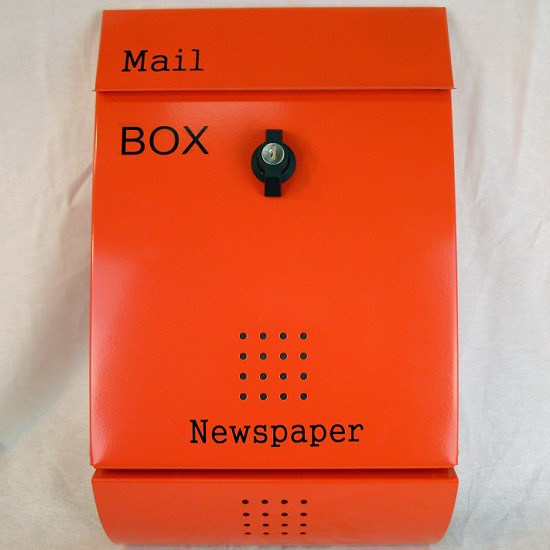 【送料無料】郵便ポスト 郵便受け 錆びにくい メールボックス壁掛けオレンジ色 ステンレスポスト(orange)