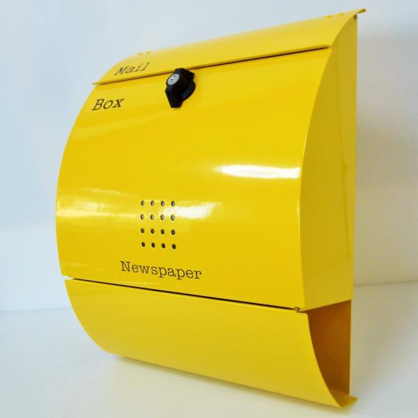 【送料無料】郵便ポスト 郵便受け 錆びにくい メールボックス壁掛けイエロー色 ステンレスポスト(yellow)