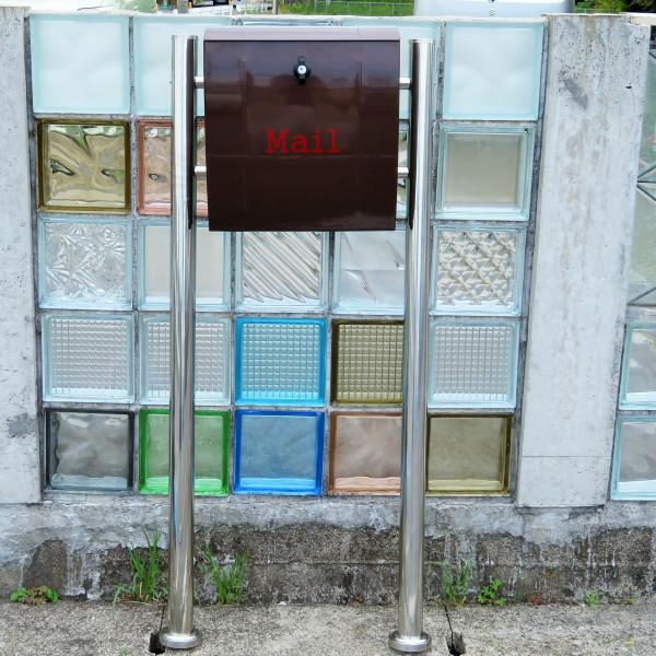 【送料無料】大容量 郵便ポスト 郵便受け 錆びにくい メールボックス スタンドタイプ ブラウン色 ステンレスポスト(brown)