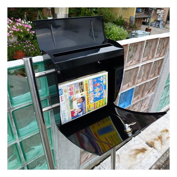 【送料無料】大容量 郵便ポスト 郵便受け 錆びにくい メールボックス スタンドタイプ 黒色 ステンレスポスト(black)