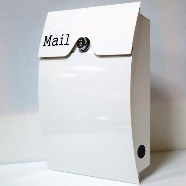【送料無料】郵便ポスト 郵便受け 錆びにくい メールボックス壁掛けダイヤル錠付きホワイト白色 ステンレスポスト(white)