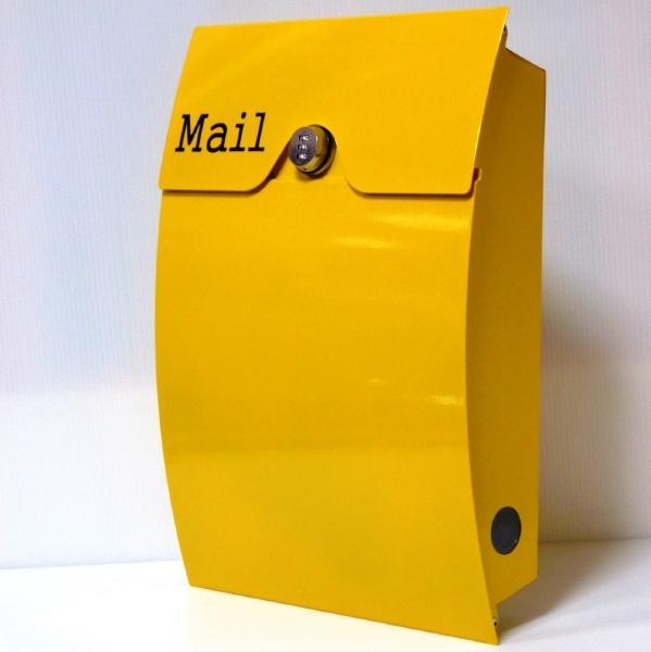 【送料無料】郵便ポスト 郵便受け 錆びにくい メールボックス壁掛けダイヤル錠付きイエロー黄色 ステンレスポスト(yellow)