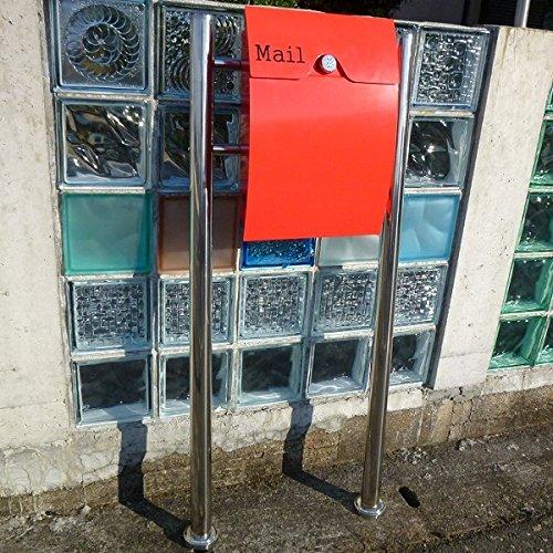 【送料無料】郵便ポスト郵便受けメールボックススタンドタイプ型ダイヤル錠付レッド赤色プレミアムステンレスポスト(red)