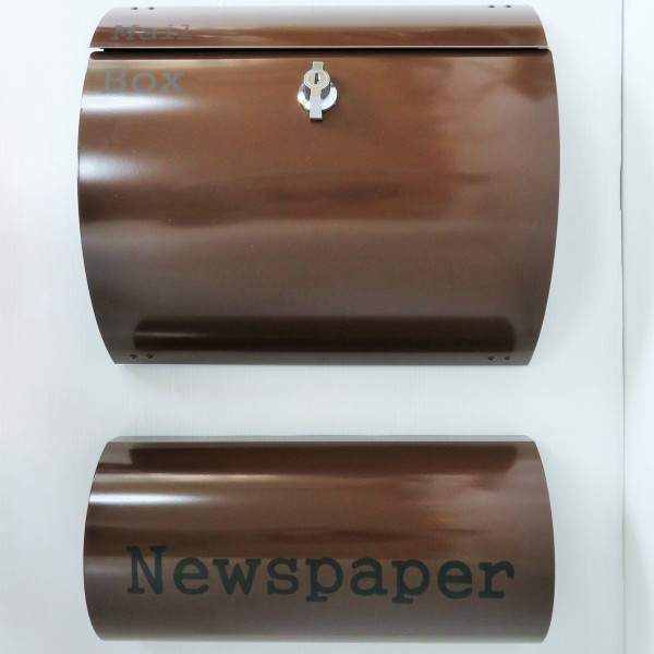 【送料無料】郵便ポスト郵便受けおしゃれかわいい人気北欧モダンデザインメールボックス壁掛けプレミアムステンレス ブラウン色ポスト+新聞紙ホルダー(brown)