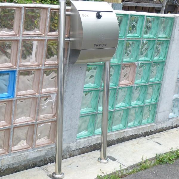 【送料無料】郵便ポスト 郵便受け 錆びにくい メールボックス スタンドタイプ シルバーステンレス色 ステンレスポスト(silver)