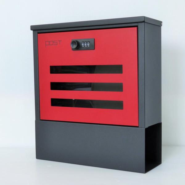 【バルセロナでポイント最大41倍】【送料無料】郵便ポスト郵便受けおしゃれかわいい人気北欧モダンデザイン大型メールボックス 壁掛けダイヤル鍵付きマグネット付きレッド赤色ポスト(red)