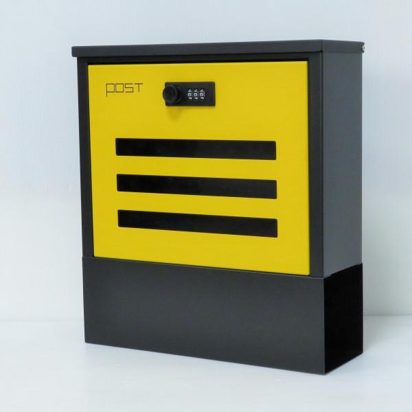 【送料無料】郵便ポスト郵便受けおしゃれかわいい人気北欧モダンデザイン大型メールボックス 壁掛けダイヤル鍵付きマグネット付きイエロー黄色ポスト(yellow)