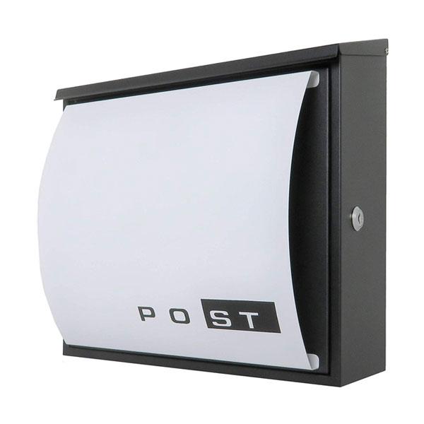 郵便ポスト郵便受けおしゃれデザイン大型メールボックス 壁掛け鍵付マグネット付 ホワイト 白色ポスト(white)