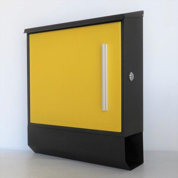 郵便ポスト郵便受けおしゃれ大型メールボックス 壁掛け鍵付マグネット付 イエロー 黄色ポスト