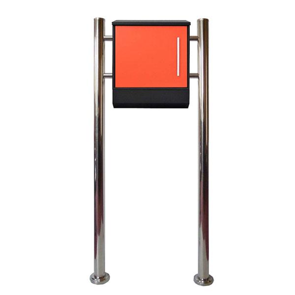 郵便ポストスタンド 郵便受けおしゃれ北欧大型メールボックス スタンド型鍵付マグネット付 オレンジ 橙色ポストpm375s