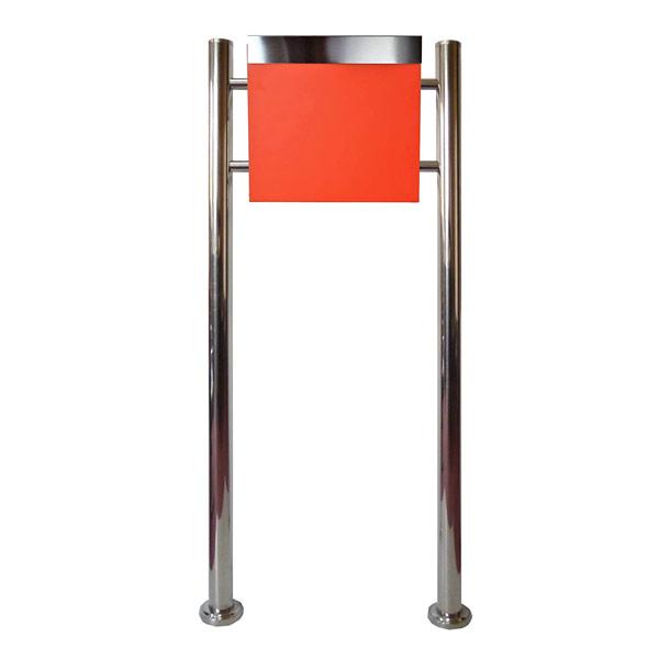 郵便ポスト郵便受けおしゃれかわいい人気北欧モダンデザインメールボックススタンド型鍵付きマグネット付き オレンジ 橙色 ポストpm332s