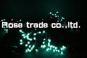 【送料無料】LEDイルミネーション、ストリング(ストレート)、常点、プロ仕様(V3)、100球、アクアグリーン