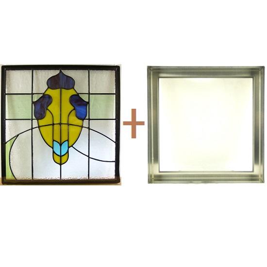 【送料無料】ステンド グラス ステンドグラス ガラス 三層パネル窓ドア枠セット