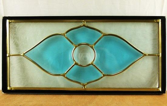 【送料無料】ステンド グラス ステンドグラス ガラス 三層パネル窓ドア枠セット380x180