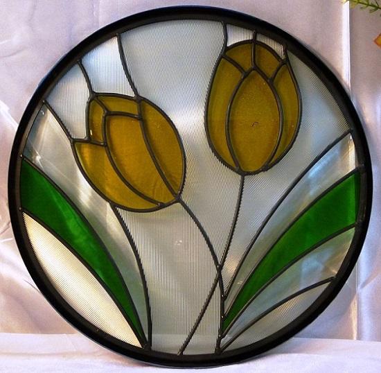 【送料無料】ステンド グラス ステンドグラス ステンドガラス 三層デザインパネル円形