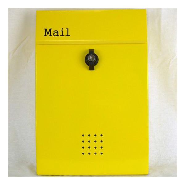 【送料無料】郵便ポスト 郵便受け 錆びにくい メールボックス壁掛けイエロー黄色 ステンレスポスト(yellow)