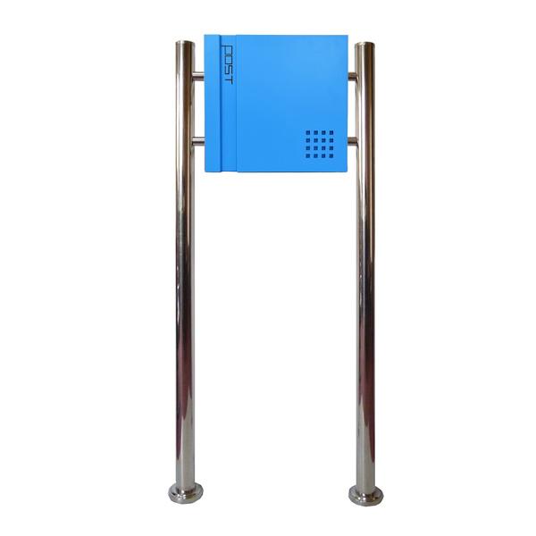 郵便ポスト 郵便受け おしゃれ 人気 大型 メールボックス スタンド型 鍵付き マグネット付き ブルー 青色ポスト pm465s