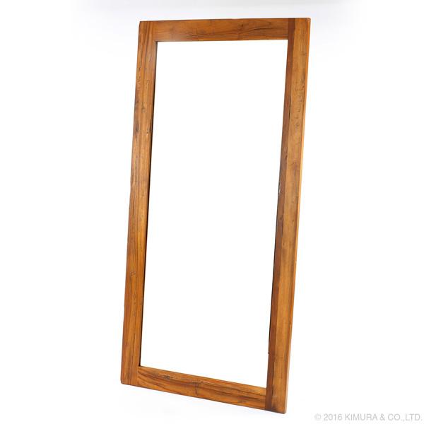 家具 インテリア ウォールミラー スタンドミラー 姿見 全身鏡 チーク 無垢 木製 リビング 玄関 寝室 アンティーク 枯木風 ナチュラル 大型