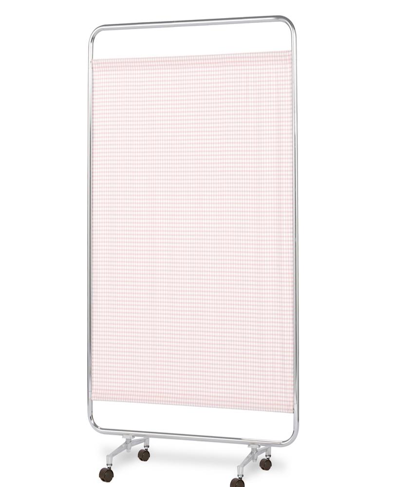 【送料無料】【日本製】シンプルなスクリーン衝立一本立 幅90cm 高さ180cm AS-90H クロスメディカルスクリーン チェックカーテン キャスター脚
