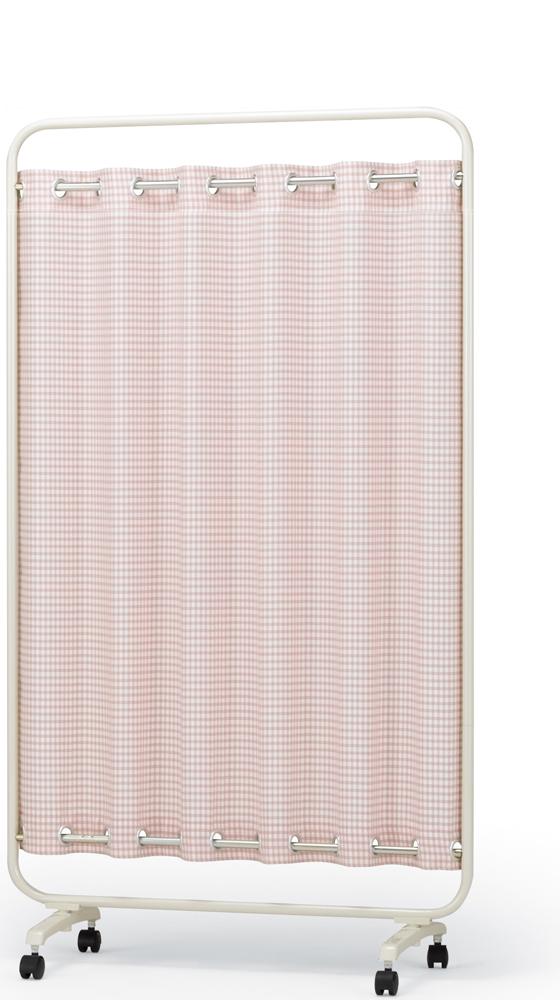 【送料無料】【日本製】シンプルなスクリーン衝立一本立 幅90cm×高さ1620 ハートウェーブスクリーン チェック柄(防炎+制菌)パーマネントプリーツカーテン