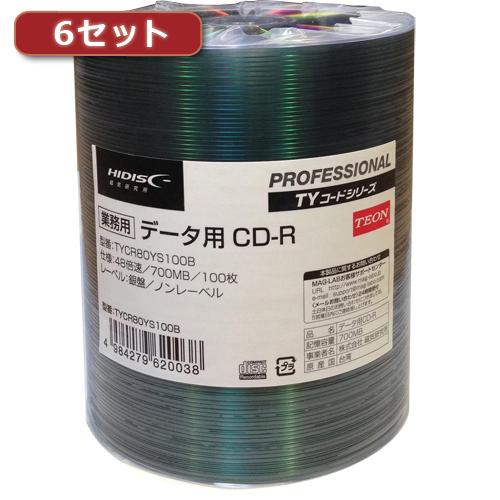 【··で··最大44倍】6セットHI DISC CD-R(データ用)高品質 100枚入 TYCR80YS100BX6