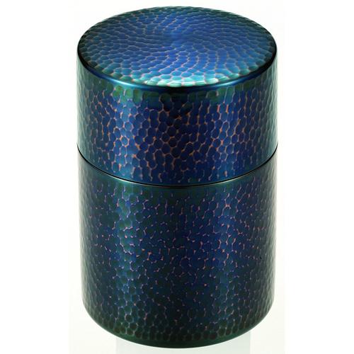純銅青被仕上げ茶筒