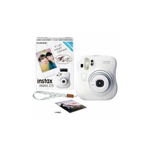 富士フイルム INSTAXMINI25-WHT インスタントカメラ instax mini 25 『チェキ』 ホワイト 純正ハンドストラップ付き