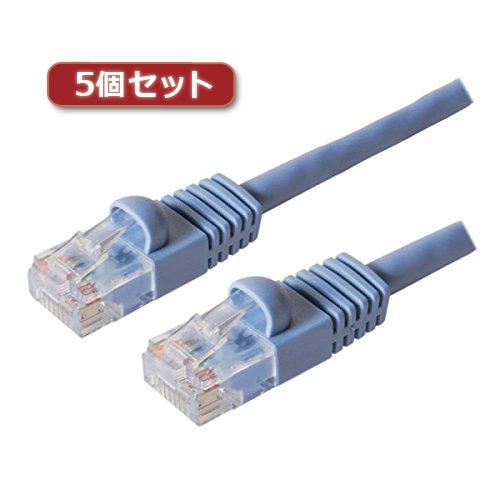 【5個セット】 ミヨシ カテ6ストレ-トLANケーブル 20m ブル- TWN-620BLX5