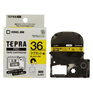 (まとめ) テプラテープ キングジム 「テプラ」PRO SRシリーズ専用テープカートリッジ 黄色 SJ36Y 4971660755844 ●36mm幅 1個【5×セット】