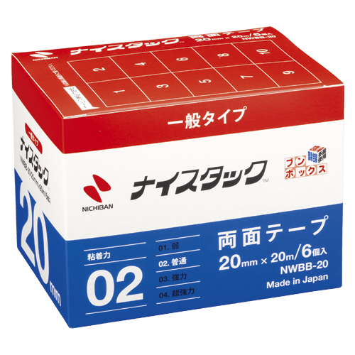 (まとめ) 両面テープ ニチバン ナイスタック[TM]一般タイプ NWBB-20 4987167036164 ●寸法:幅20mm×長20m 1箱【5×セット】