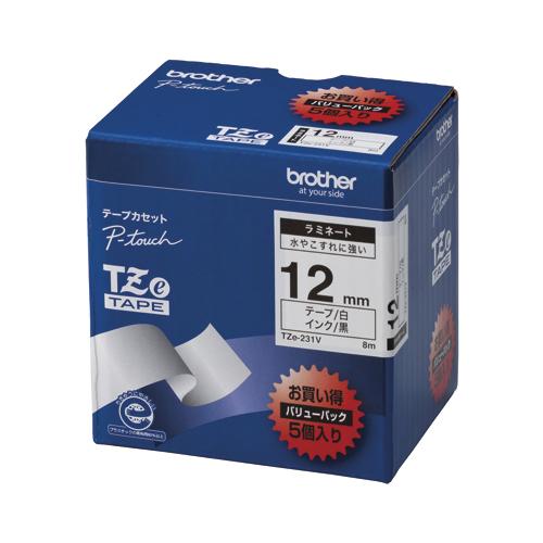 (まとめ) ピータッチテープ ブラザー ピータッチ用 テープカートリッジ 白/黒 TZE-231V 4977766701884 ●12mm幅 1箱【5×セット】