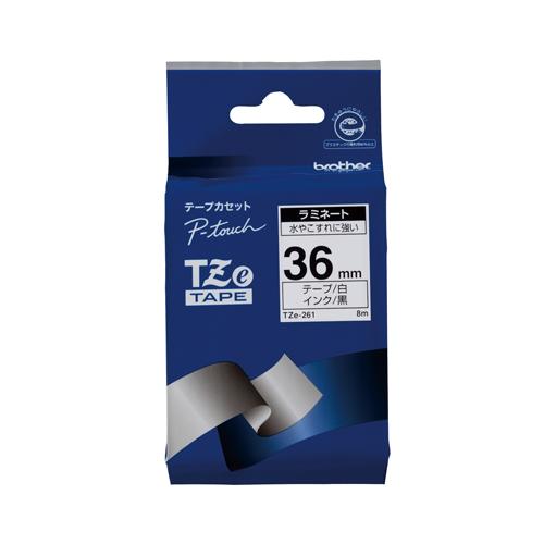 (まとめ) ピータッチテープ ブラザー ピータッチ用 テープカートリッジ 白/黒 TZE-261 4977766702010 ●36mm幅 1個【5×セット】