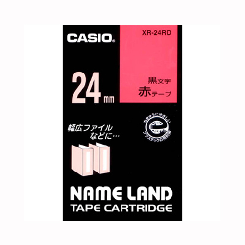 (まとめ) ネームランドテープ カシオ ネームランド用テープカートリッジ 赤 XR-24RD 4971850123774 ●24mm幅 1個【10×セット】