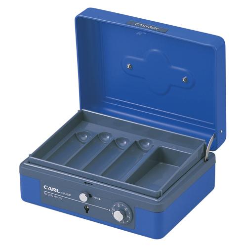 (まとめ) 手提金庫 カール キャッシュボックス ブルー CB-8200-B 4971760260088 1台【5×セット】