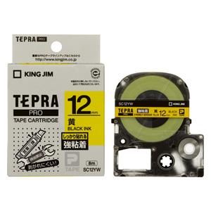 (まとめ) テプラテープ キングジム 「テプラ」PRO SRシリーズ専用テープカートリッジ 黄色 SC12YW 4971660756735 ●12mm幅 1個【10×セット】